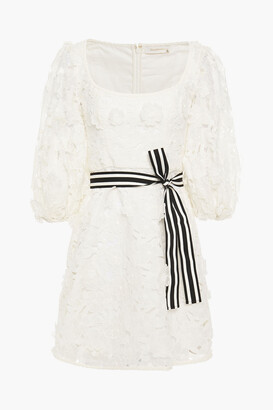 Zimmermann Belted Appliqued Linen And Silk-blend Guipure Lace Mini Dress