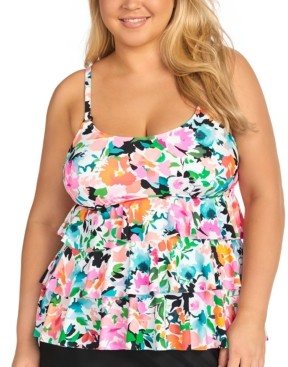Island Escape Swimwear Plus Size Tiered Underwire Tankini Top, Created for Macy's Women's Swimsuit