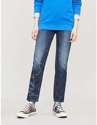 Benetton Snoopy-graphic high-rise straight jeans