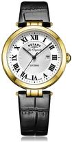 Rotary Lucerne White Dial Roman Numerals Black Leather Strap Ladies Watch