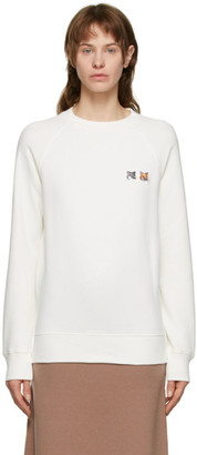 MAISON KITSUNÉ White Double Fox Head Sweatshirt