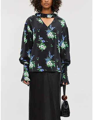 Les Rêveries Ruffled-trim gathered-cuff floral-print silk blouse