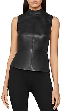 BCBGMAXAZRIA Faux-Leather Sleeveless Top
