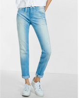 Express light blue distressed faded girlfriend jeans