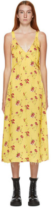 R 13 Yellow Floral Long Side Stripe Slip Dress