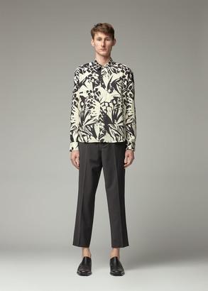 Saint Laurent Men's Leopard Long Sleeve Shirt in Cream/Black/Grey Size 40