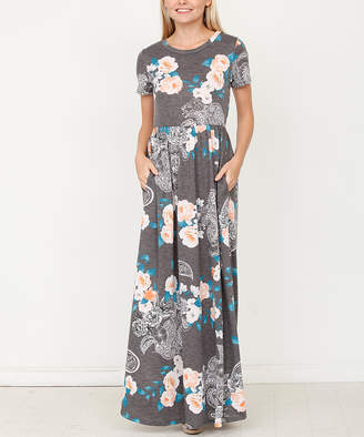 Egs By Eloges egs by eloges Women's Maxi Dresses Charcoal - Gray Floral Maxi Dress - Women