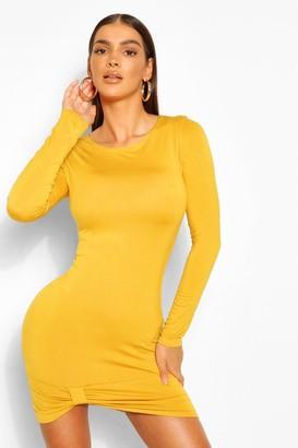 boohoo Knot Hem Jersey Mini Bodycon Dress