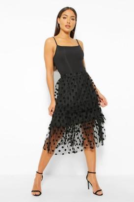 boohoo Spot Tulle Midi Skirt