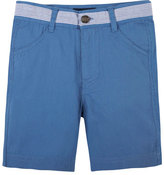 Andy & Evan Seersucker-Trim Twill Shorts, Blue, Size 6-24 Months
