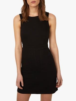 Warehouse Sleeveless Denim Shift Dress, Black