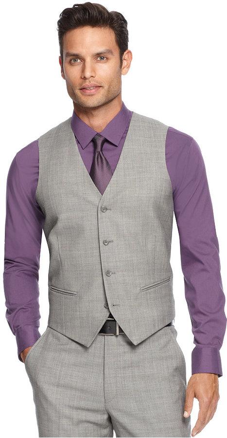 Alfani Light Grey Sharkskin Slim-Fit Vest