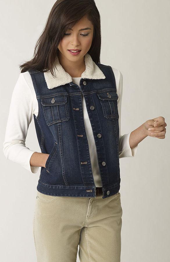 J. Jill Faux-shearling-trimmed denim vest