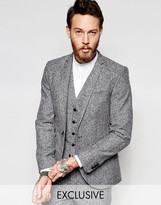 Noak Winter White Donegal Suit Jacket In Super Skinny Fit