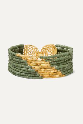 Bibi Marini - Mitu Gold-plated And Ceramic Beaded Bracelet - Green