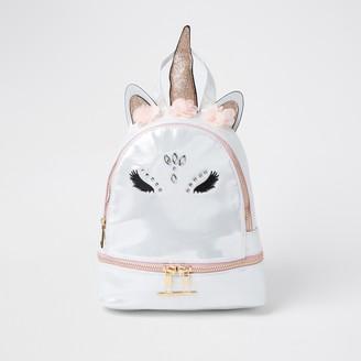 River Island Girls White glam unicorn backpack