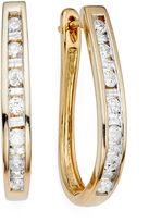 JCPenney FINE JEWELRY 1/2 CT. T.W. Diamond 10K Yellow Gold Hoop Earrings