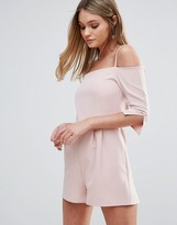 Oh My Love Off Shoulder Playsuit With Straps