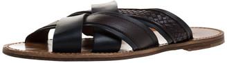 Bottega Veneta Black/Brown Leather Crisscross Slide Sandals Size 44