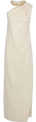 Halston One-shoulder Bead-embellished Satin-crepe Gown