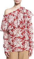Robert Rodriguez Floral-Print One-Shoulder Ruffle Top, Crimson