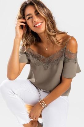 francesca's Crissette Lace Trim Cold Shoulder Blouse - Sage