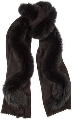 AMA Pure Brown Fur-trimmed Wool Scarf