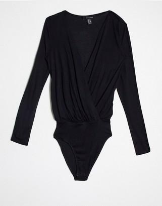 New Look long sleeve wrap bodysuit in black