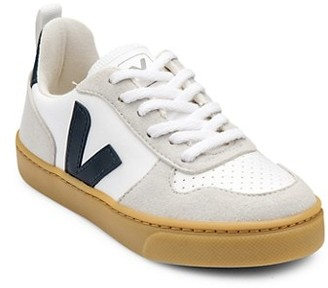 Veja Kid's V-Logo Cotton Leather Coated Lace-Up Sneakers