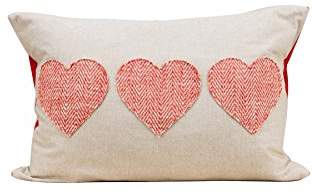Glory Haus 3 Hearts Pillow Cover, Multi-Colour, One Size