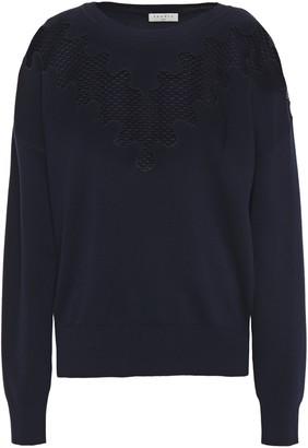 Sandro Crochet-paneled Knitted Sweater