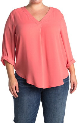 Lush V-Neck Roll Tab Sleeve Woven Top