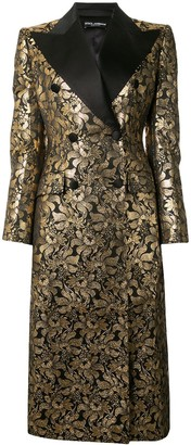 Dolce & Gabbana Double-Breasted Foil Jacquard Coat