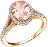 Lafonn Women's Oval Shape Halo Ring with Simulated Diamonds and Simulated Morganite