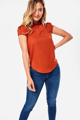 MONICA Iclothing iClothing Frill Neck Blouse in Rust