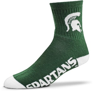 For Bare Feet Adult Michigan State Spartans Team Color Quarter-Crew Socks