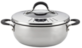 Circulon 4QT. Momentum Stainless Steel Covered Casserole with Locking Straining Lid