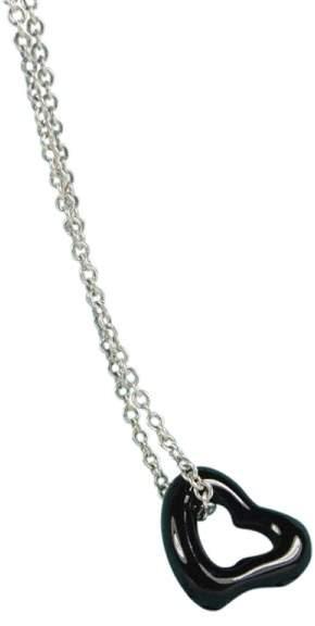 Tiffany & Co. Sterling Silver Elsa Peretti Black Jade Open Heart Pendant Necklace Gorgeous