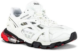 Balenciaga Track.2 Open Sneaker in White & Red & Black | FWRD