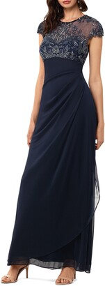 Xscape Evenings Beaded Yoke Ruched Gown