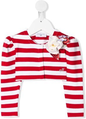 MonnaLisa Striped Floral-Applique Jacket