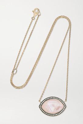 Noor Fares Ajna Guava 18-karat Gray Gold And Enamel Multi-stone Necklace
