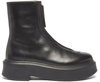 The Row Zip-front Leather Ankle Boots - Black