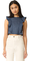 Clayton Denim Ruffle Top