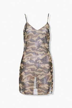 Forever 21 Sheer Mesh Camo Mini Dress