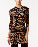 INC International Concepts Leopard-Print Tunic Sweater, Only at Macy's