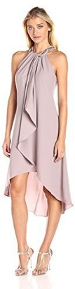 SL Fashions Women's Jewel Neck Drape Front