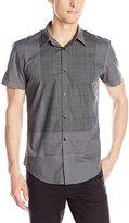 Calvin Klein Men's Block Engineer Print Short Sleeve Woven Shirt