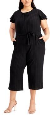 Calvin Klein Plus Size Flutter-Sleeve Textured Cropped Jumpsuit