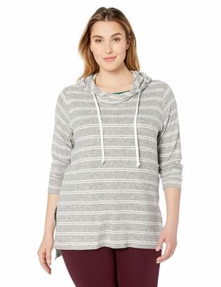 Karen Kane Women's Plus Size Stripe Hooded TOP 2X